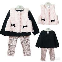 Wholesale New kids Autumn suit baby girl Pink Roses velvet waistcoat cotton long sleeved t shirt Leopard print pants set JU
