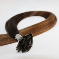 "brown straight 1.0g Wholesale - 6# light brown 18""-26"" 1g s 300s lot flat Tip Hair Extension Straight 100% Remy Human Hair dhl free"