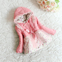 Wholesale 2013 girls winter coat Girls double breasted hooded coat thickened small floral baby coat