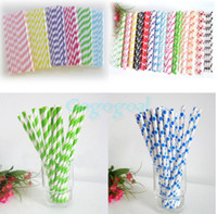 Plastic paper straws - 25PCS Polka Dot Stripe Paper Drinking Straws Wedding Party Birthday Decoration