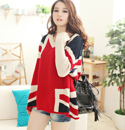 Wholesale CASUAL UNION JACK LONG SLEEVE V NECK LOOSE FIT SWEATER JUMPER RED F