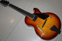 Wholesale 20120930 Custom Jazz Semi Hollow Body string guitar Electric Guitar sunset sunburst Chinese guitar