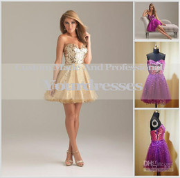 Wholesale Modest A Line Sweetheart Sequins Purple short gold homecoming dresses Under Cocktail Dresses Organza