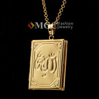 Wholesale Vintage Muslim Allah Photo Locket Pendants Floating Charms K Gold Plated Choker Necklace Bible Jewelry Gift MGC P195