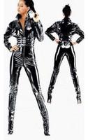 Wholesale Y women s bodysuit new fashion BLACK ROMPER JUMPSUIT CATSUIT BODYSUIT SEXY LINGERIE LATEX ZIP ADULT SIZE Zentai condom zipper