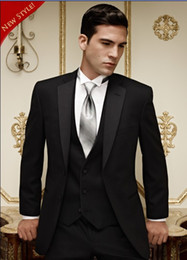 Wholesale Groom Tuxedos Black Two Buttons Notch Lapel Best Man Groomsman Men Wedding Suits Prom Form Bridegroom Jacket Pants Tie Vest Hanky J124
