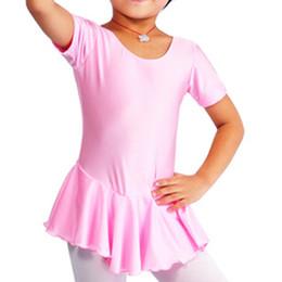 Wholesale Child short sleeve skirted leotard with round neckline C2125