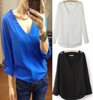 Wholesale Black Blue White EuropeanStyle Women New Wrap Chiffon V Neck Top Blouse S M L