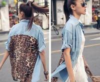 New Vogue Leopard Women' s Button Shirt Retro Denim Chif...