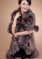 Wholesale More high end women s large fox collars fur shawl sweater knitting cape fur