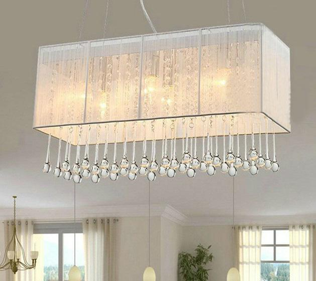 K9 Crystal Lighting Fixture Fabric Rectangle Chandelier Modern