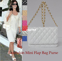 Women purse hardware - Women s White Lambskin Mini Flap Purse Bag with Single Chain Belt Gold Hardware Matras