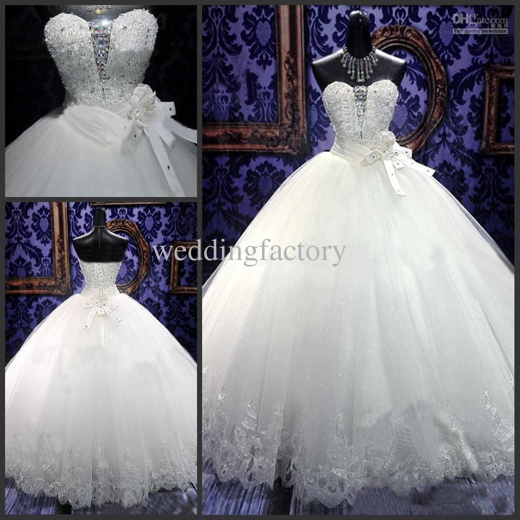 Real luxury bling bling wedding dresses 2015 sweetheart for Princess style wedding dresses sweetheart neckline
