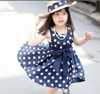 Wholesale Girl Clothes Cute Polka Dot Dresses Kids Summer Dress Fashion Bowknot Sash Princess Dresses Jumper Skirt Pleated Dress Children Clothing