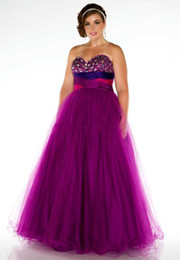 Wholesale 2014 Grace Plus Size Special Occasion Dresses Empire Floor length Tulle Rhinstone Sweetheart Girdling Prom Gowns