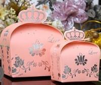Favor Boxes Pink Paper 100pcs lot 7*4.3*9.5cm 9.5*5.9*13cmCrown Candy Bomboniere Boxes Wedding Party favor box,paper box chocolate box