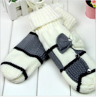 Wholesale 2013 hot sale women gloves fashionable full finger bowknot warm gloves
