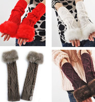 Wholesale New Long Warm Winter Women Upset Wool Rabbit fur gloves Half Refers