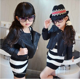 Wholesale 2013 new girls fashion jacket leather children grid inclined zipper long sleeve coat kids outwear popular tops autumn fur clothing lcagmy