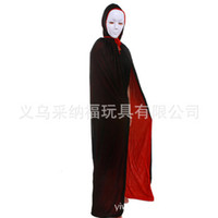 Wholesale Halloween Party Black and Red Hooded Cloak Solid Color Cloak Death Sided Cape Devil Cloak K021
