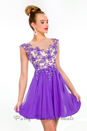 Wholesale 2013 See Though A Line Appliques Bead Organza Cheap Junior Homecoming Dresses Purple Homecoming Dresses Cheap Cute Short Homecoming Dresses
