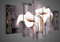 More Panel Oil Painting Abstract Hand Painted wall art Texture of white lilies landscape Oil Painting on canvas 5pcs set mixorde Framed