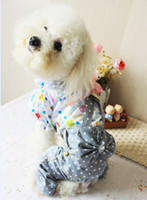 Wholesale Special Offer Adorable New Soft cotton Pet Puppy Dog Strap dot jeans Clothes Clothing Dress Apparel S M L XL XXL
