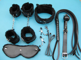 Wholesale 7 in BDSM Bondage Gear Kit Sex Toys PU Handcuffs Footcuffs Dog Collar Eye Mask Whip Ball Gag Nipple Clamp Adult Products XLY1120