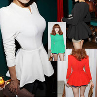 Wholesale New Autunm korea Elegant Womens Fashion Puff Long sleeves Fitted Peplum Blouse Casual T shirt Tops Cotton Blends shirts