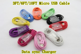 colorful micro usb cable for s3 s4 N7100 blackberry Z10 data sync charging 1M 3FT 2M6FT 3M 10FTdata sync charge free shipping 100pcs lot