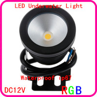 Wholesale RGB W DC V Aircraft Aluminum Underwater Waterproof LED Light Aquarium Fountain Swimming Pool Lamps Landscape adjustable IP67 Outdoor