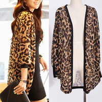 Western Girl Women Leopard Batwing Sleeve Ponchos Blouse for...