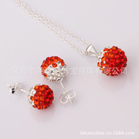 Wholesale Welcome to order new shelves Shamballa earring pendant set AB mud professional production S057