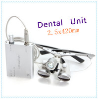 Wholesale Hot Sliver color X420mm Dentist Dental magnifier Surgical Medical Binocular Loupes with LED headlight lamp