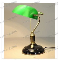 E27 banker lamp shades - LLFA2426 VINTAGE BRASS BANKERS LAMP With GREEN GLASS SHADE