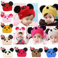 Wholesale Autumn and winter baby panda design hat knitting hats turtleneck cap children s hat