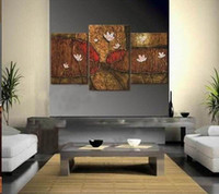 More Panel Oil Painting Abstract Hand Painted Large Modern Abstract Paintings Wall Art Oil On Canvas the Lotus Pond Beautiful landscape Retro Style Top Home Decoration