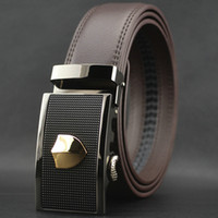 Wholesale New men s fashion auto lock steel buckle belt genuine cowskin brown leather waist belt pk56 T1