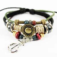 Wholesale Handmade Braided Anchor Bracelets vintage Geniune leather wrap bracelet slide charm wristband bangle fashion unisex jewelry A0182