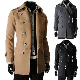 Wholesale 2015 New Mens Trench Coats Classic Double Breasted Pea Coat Men Man Trench Coat Overcoat Lapel Fashion Outwear Korean M L XL XXL Colors