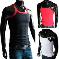 Wholesale 1PCS New Fashion Mens Round Neck Crew Neck T Shirts Sleeveless Cotton Man Boys Sport GYM Vest Solid Tops L XL XXL Large Size Colors