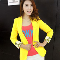 Wholesale 2013 spring new arrival blazer jacket candy color slim coat woman bright yellow female shorts women Europe wind outwear