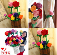 Wholesale Cartoon Velvet Flowers Rose Sunflower high quality wedding gift curtain buckle home decoration multicolor multi sizes plush toys