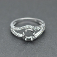 Wholesale 6 mm Round Cut SOLID ct WHITE GOLD DIAMOND SEMI MOUNT RING Settings