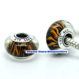 Wholesale 5pcs Sterling Silver Oxidized Threaded Screw Bengal Tiger Animal Print Murano Glass Beads Fit Pandora Charm Bracelets amp Necklaces