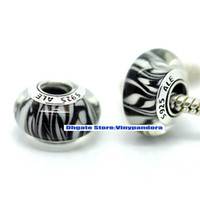 Wholesale 5pcs Sterling Silver Oxidized Threaded Screw Zebra Animal Print Murano Glass Beads Fit Pandora Charm Bracelets amp Necklaces