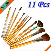 Wholesale 11 Cosmetic Makeup Make up Brushes Set Leather Case