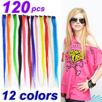 Wholesale 120 x quot Straight Colored Colorful Clip On In Hair Extension Hair piece Synthetic clip in extensions colors