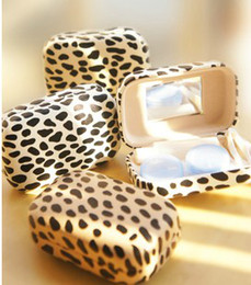 Wholesale Cool Cheetah Print Contact Lens Case Travel Plastic Contact lens care