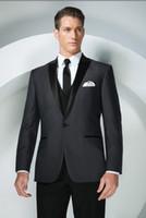 Men best jacket brands - Brand New Groom Tuxedos Charcoal Grey Peak Lapel Best man Groomsman Men Wedding Suits Prom Form Bridegroom Jacket Pants Tie Vest Hanky J132
